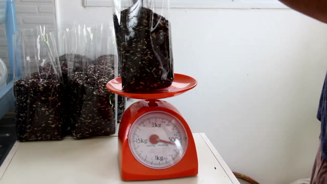 man contain rice berry in plastic bag on weight scale - weight scale stock videos & royalty-free footage