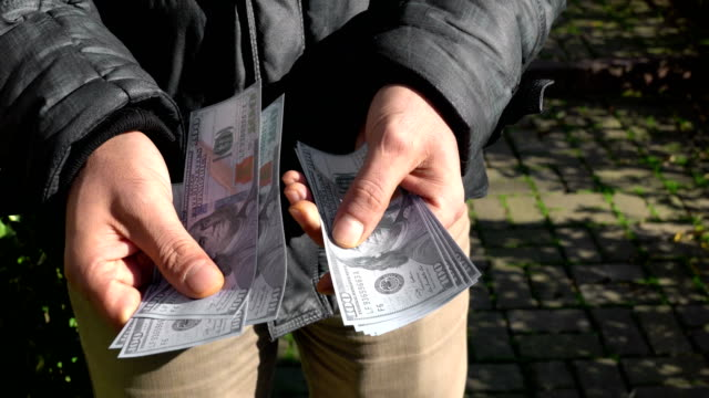 Man Counting money in the park