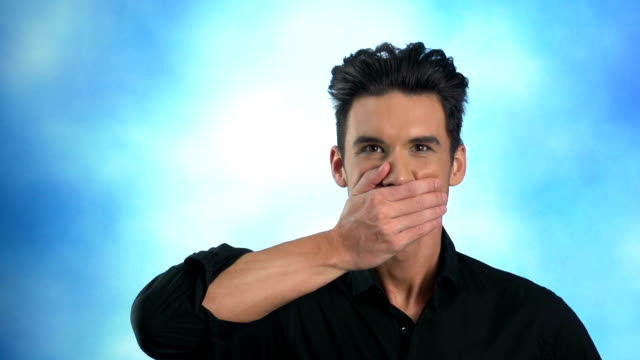 man covers mouth - hands covering mouth stock videos and b-roll footage
