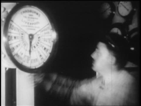 b/w 1928 man cranking gauge in ship / newsreel - 1928 stock-videos und b-roll-filmmaterial