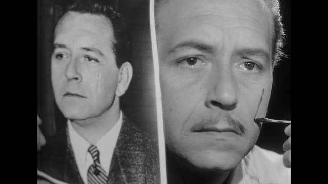 1948 Man creates a fake scar on his face to match picture
