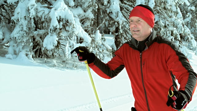 TS SLO MO man cross country skiing in nature