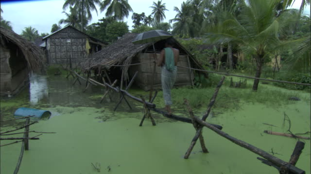man crosses floodwater on raised beams available in hd. - bangladesch stock-videos und b-roll-filmmaterial