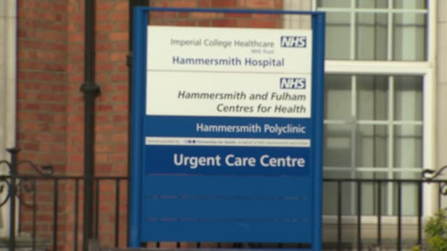 man cured of hiv following stem cell transplant treatment; england: london: hammersmith: hammersmith hospital: ext hospital entrance hospital sign... - retrovirus video stock e b–roll