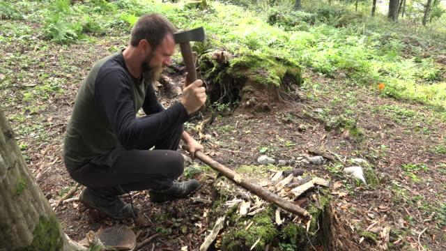 stockvideo's en b-roll-footage met man snijden een filiaal in het bos - alleen oudere mannen