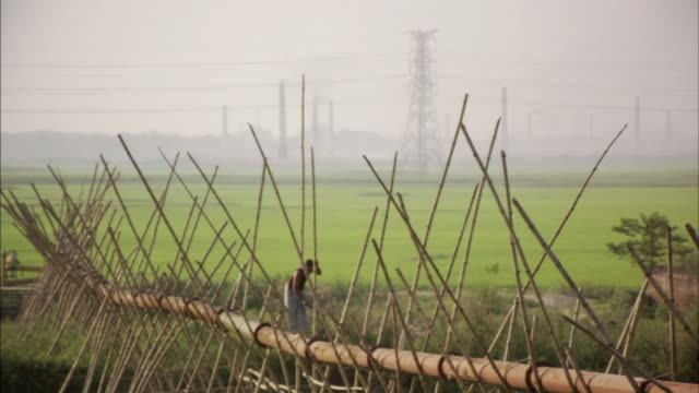 ws, man cutting off one of bamboo poles supporting pipe above ground, bangladesh - pipe stock videos & royalty-free footage