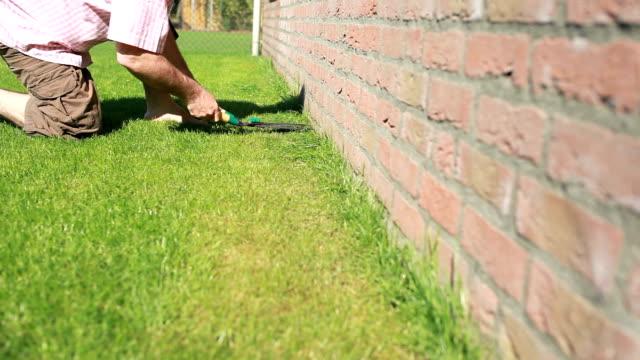 man cutting the grass garden lawn - gräsmatta odlad mark bildbanksvideor och videomaterial från bakom kulisserna