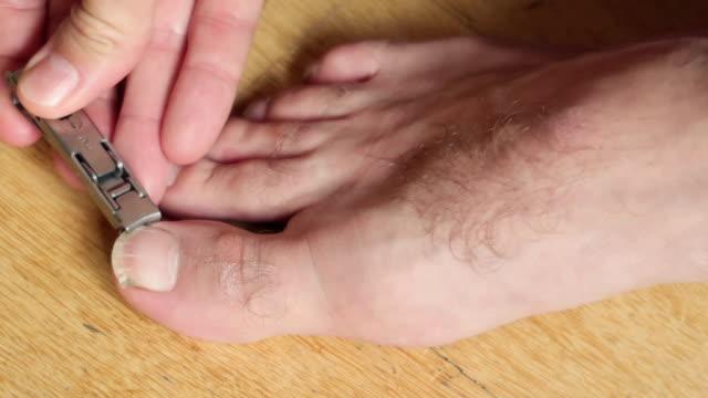 mann schneiden fußnägel - stock video - menschlicher finger stock-videos und b-roll-filmmaterial