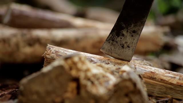 Man cutting wood with hatchet