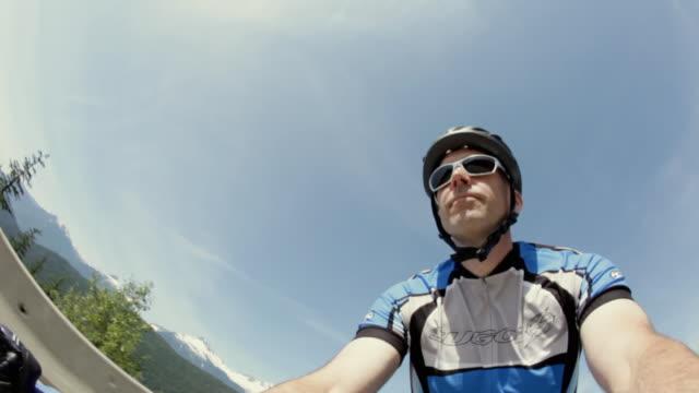 POV LA MS Man cycling in rural setting / Squamish, British Columbia, Canada
