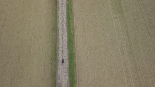 stockvideo's en b-roll-footage met man cycling on bicycle  riding through farm fields crops on road bikes in france. - onbemand luchtvaartuig