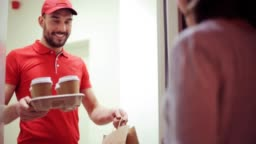 man delivering coffee and food to customer home