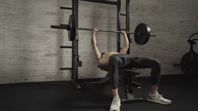 man demonstrates bench press - health club stock videos & royalty-free footage