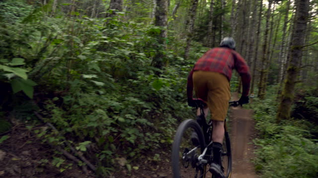 ts man descending down trail on mountain bike - bicycle trail outdoor sports stock videos & royalty-free footage