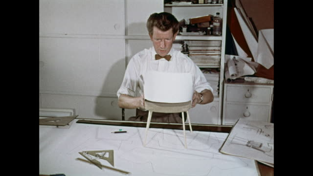 montage man designing chair / united kingdom - 1950 1959 stock videos & royalty-free footage