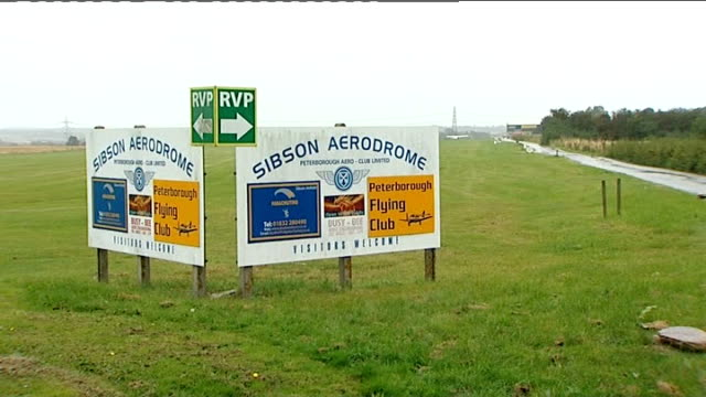 Man dies in skydiving accident near Peterborough ENGLAND Cambridgeshire Sibson Airfield Sign 'Sibson Aerodrome' Light aircraft parked Sign 'Parachute...