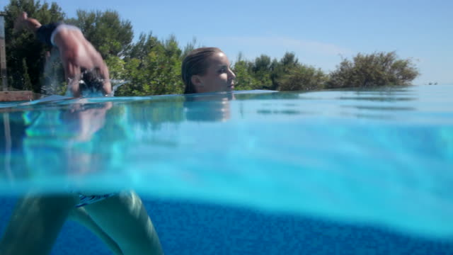 WS Man dives into pool and swims with woman, Mallorca
