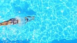 SLO MO CS Man diving into the pool