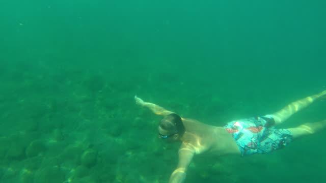 man diving to sea bottom - mondo marino video stock e b–roll