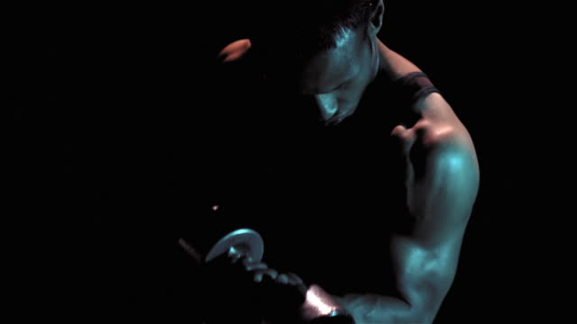 man doing bicep curls with weight - arm curl stock videos & royalty-free footage