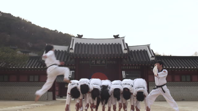 WS Man doing jumping kick and breaking wooden board with his hand  / Kyungkido, Bucheon, South Korea