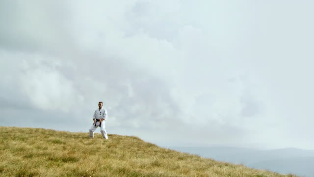 ws zi zo man doing karate at edge of mountain / vipava, nature park nanos, slovenia - martial arts stock videos and b-roll footage