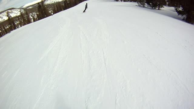 ws pov man doing snowboarding / mammoth lakes, california, united states - mammoth lakes video stock e b–roll