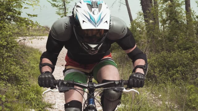 man downhill mountain biker - motorcycle biker stock videos & royalty-free footage