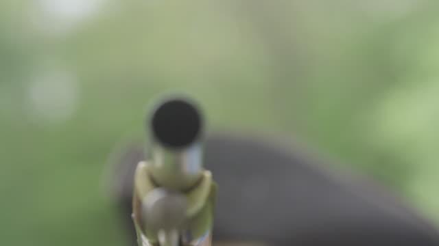 man dressed as revolutionary war soldier aims musket - krieg stock-videos und b-roll-filmmaterial
