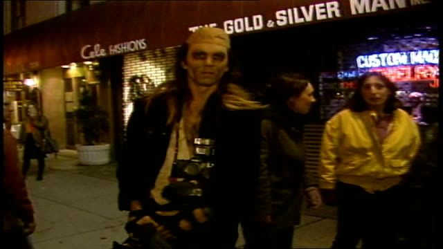 man dressed as riff raff from rhps waving to camera - riff stock videos & royalty-free footage