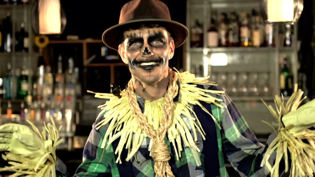 man dressed up as a scarecrow - stage costume stock videos and b-roll footage