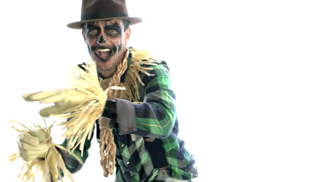 man dressed up as a scarecrow - stage costume stock videos & royalty-free footage