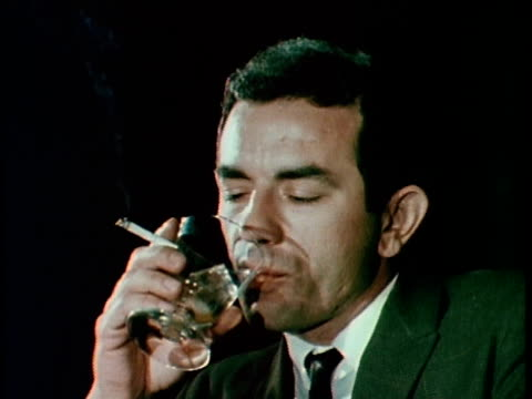 1967 montage man drinking and smoking at bar, los angeles, california, usa, audio - 1967 stock videos and b-roll footage