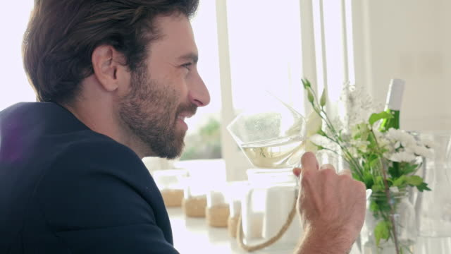 vídeos de stock e filmes b-roll de man drinking wine - só um homem de idade mediana