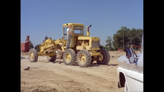 ws man driving 1961 chevrolet corvair pick up truck at construction site / united states - chevrolet truck stock videos & royalty-free footage