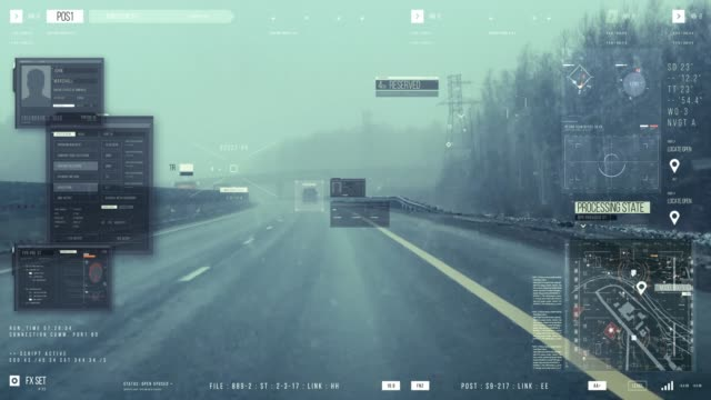 a man driving a car on the road. tracking system - pursuit concept video stock e b–roll