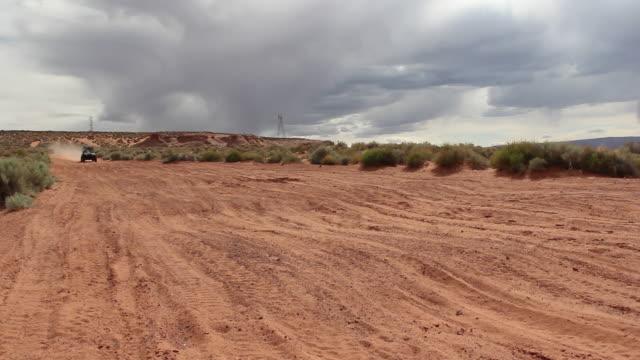 A man driving a quad ATV all-terrain vehicle off-road in Arizona. - 1920x1080