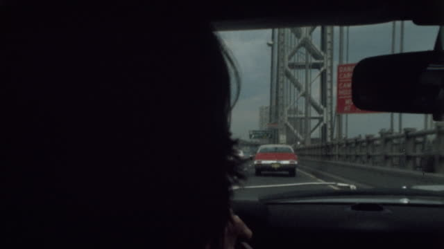 1978 montage pov cu ms man driving car through george washington bridge, new york city, new york state, usa - 1978 stock videos and b-roll footage