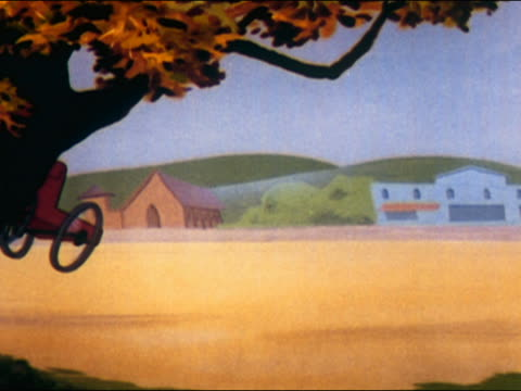 stockvideo's en b-roll-footage met 1948 animation man driving early automobile / frightened people and horse running away / man crashing - auto ongeluk