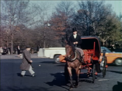 stockvideo's en b-roll-footage met 1962 man driving horse-drawn carriage on city street tipping hat + smoking cigarette / nyc - werkdier
