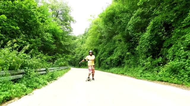 Man driving longboard. Slow motion