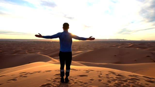 man embracing nature. desert - conditions stock videos and b-roll footage