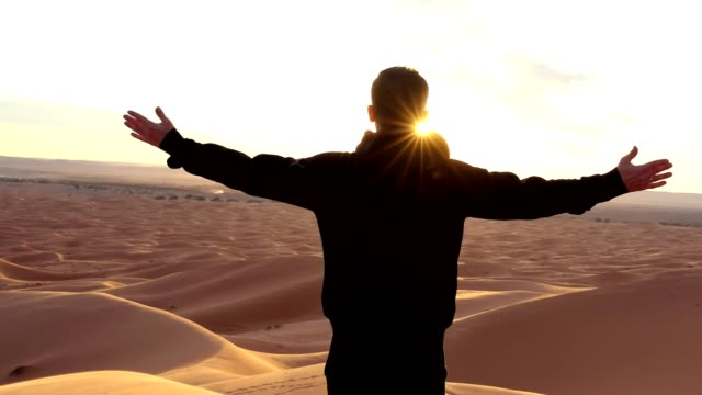 man embracing nature. desert - arms outstretched stock videos and b-roll footage