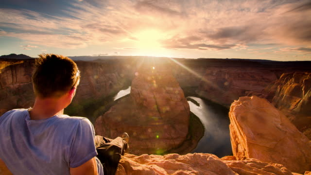 POV Man enjoying a view over the Horseshoe Bend