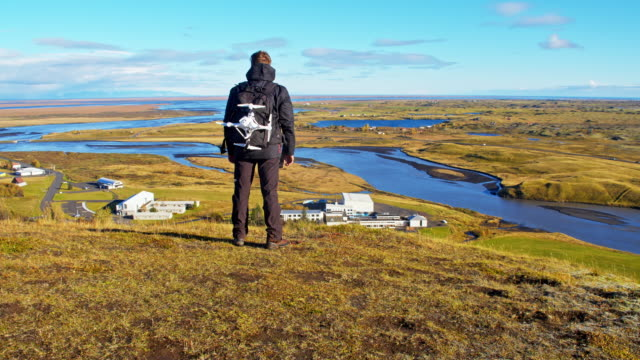 Man enjoying the country view in Iceland