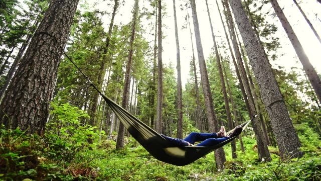man enjoyment on the hammock