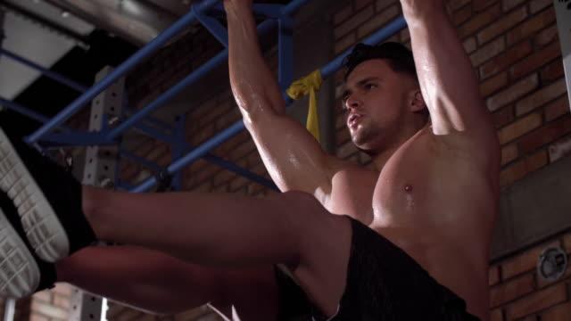 man exercising at gym/ mielec/ poland - podkarpackie voivodeship video stock e b–roll