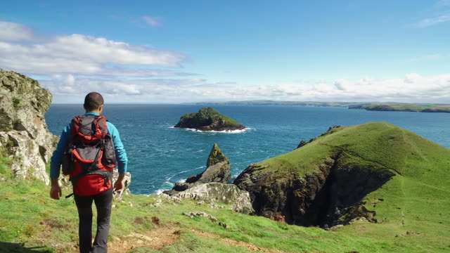 man exploring the wild nature in uk - cornwall. 4k video - cornwall england stock videos & royalty-free footage