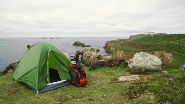 Man exploring the wild nature in UK - Cornwall. 4K Video