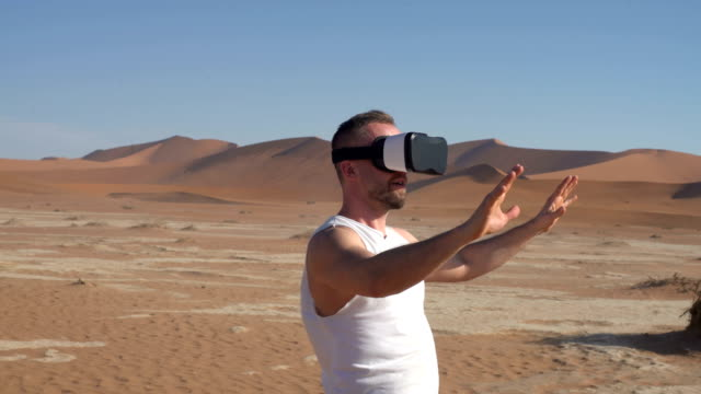 Man exploring virtual reality. VR headset.